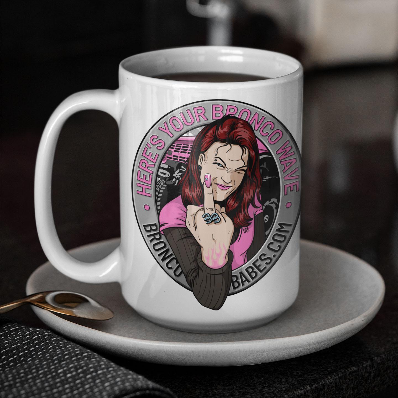 Bronco Wave Ceramic Mug 15oz – White