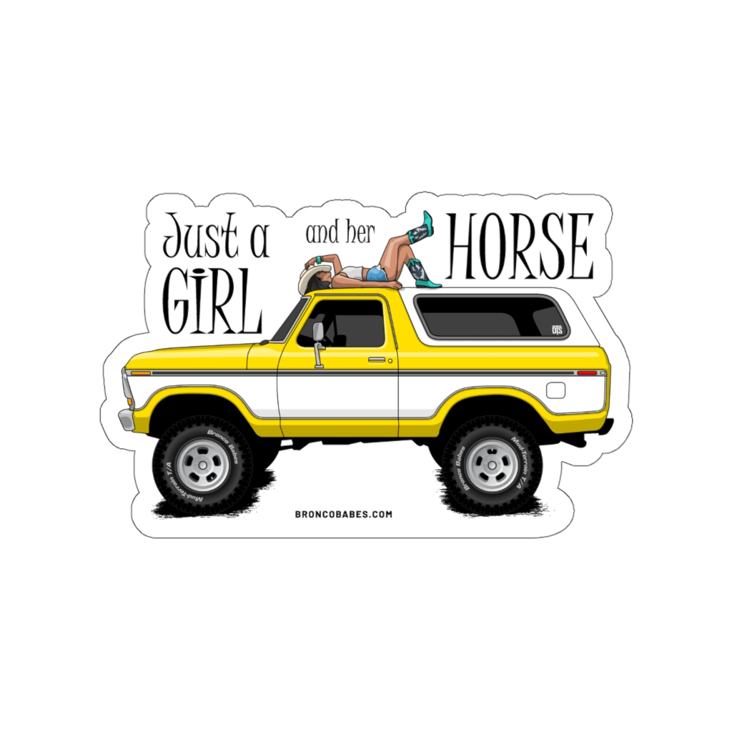 Just A Girl And Her Horse Die-Cut Vinyl Decal – Yellow