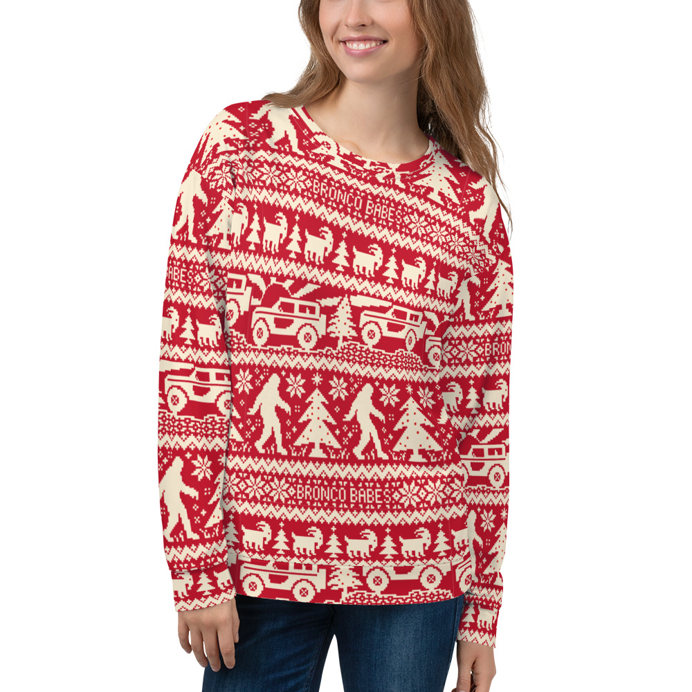 Bronco Babes Ugly Christmas Sweatshirt – Red